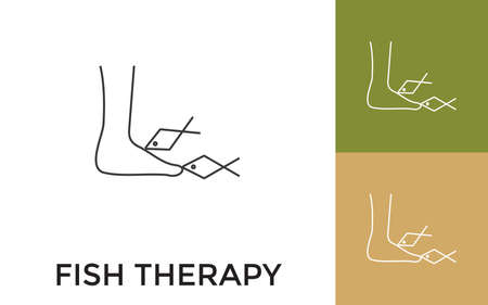 Editable Fish Foot Therapy Thin Line Icon with Title. Useful For Mobile Application, Website, Software and Print Media.