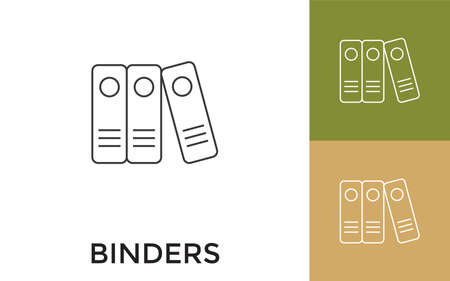 Binders Editable Thin Line Icon with Title. Useful For Mobile Application, Website, Software and Print Media.