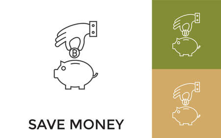 Editable Save Money in Piggy Bank Thin Line Icon with Title. Useful For Mobile Application, Website, Software and Print Media. Vecteurs