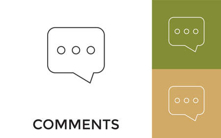 Editable Comments Thin Line Icon with Title. Useful For Mobile Application, Website, Software and Print Media.