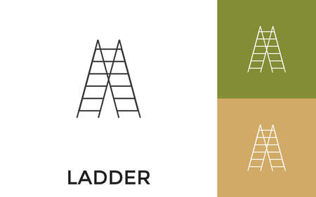 Editable Ladders Thin Line Icon with Title. Useful For Mobile Application, Website, Software and Print Media. 向量圖像