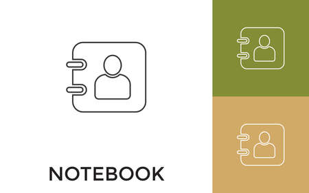 Editable Notebook Thin Line Icon with Title. Useful For Mobile Application, Website, Software and Print Media.