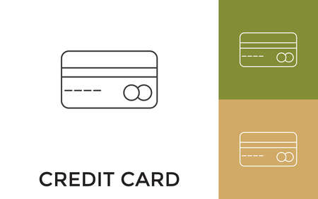 Editable Credit or Debit card Thin Line Icon with Title. Useful For Mobile Application, Website, Software and Print Media.