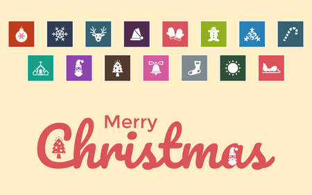 Very Useful & Attractive Christmas Icons With Merry Christmas Message. 版權商用圖片 - 160972072