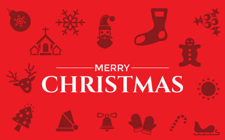 Very Useful & Attractive Christmas Icons With Merry Christmas Message.