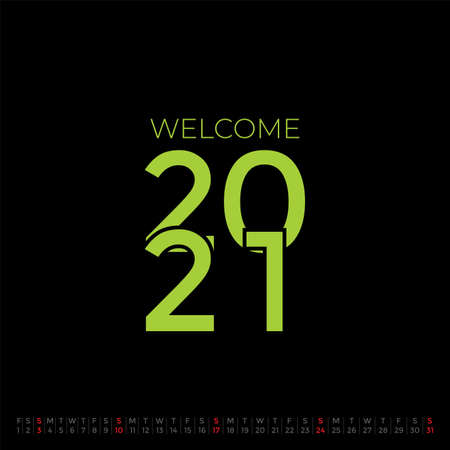 Welcome 2021 with January calendar 2021. 向量圖像