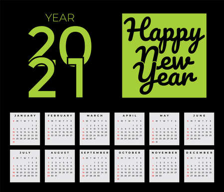 Welcome 2021 with full year calendar 2021. 向量圖像