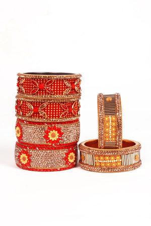 Ethnic Traditional Indian Bangle Wear in Wrist. 版權商用圖片