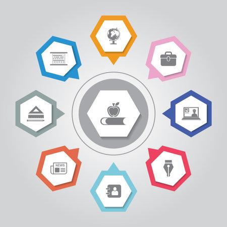 Education Icon. Simple flat vector icons set on Gray Radiant background 版權商用圖片 - 161947545