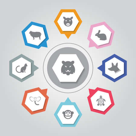 Animal Icon. Simple flat vector icons set on Gray Radiant background