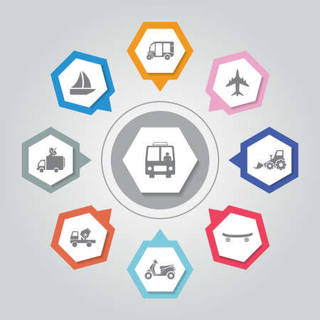 Vehicle vector icons set on gray