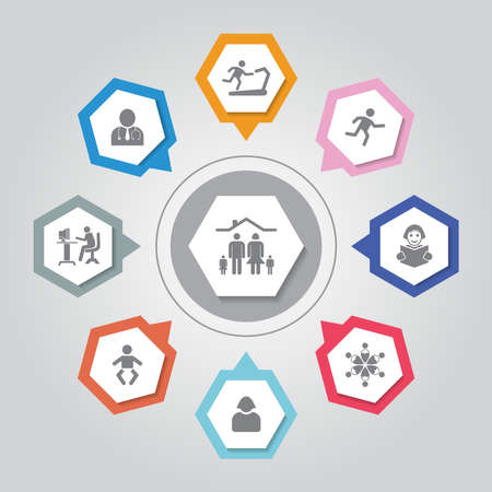 People vector icons set on gray