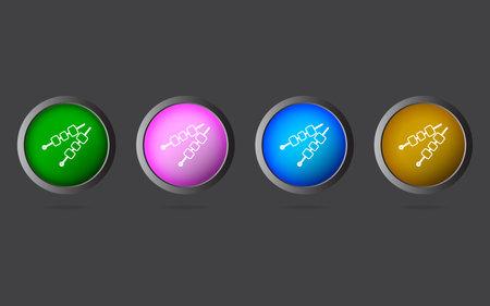 Very Useful Editable Paneer Tikka Kebab Line Icon on 4 Colored Buttons.