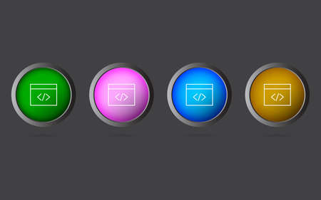 Very Useful Editable Coding Window Line Icon on 4 Colored Buttons. 向量圖像