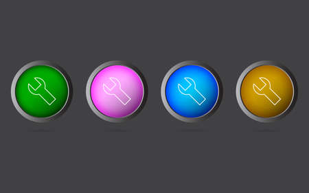 Very Useful Editable Wrench Line Icon on 4 Colored Buttons.