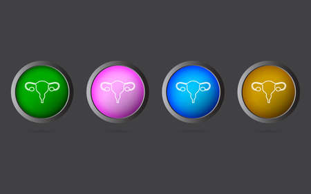 Very Useful Editable Uterus Line Icon on 4 Colored Buttons. 向量圖像