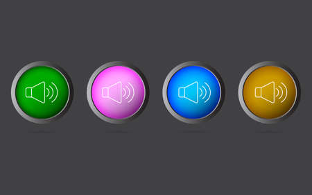 Very Useful Editable Volume Line Icon on 4 Colored Buttons.