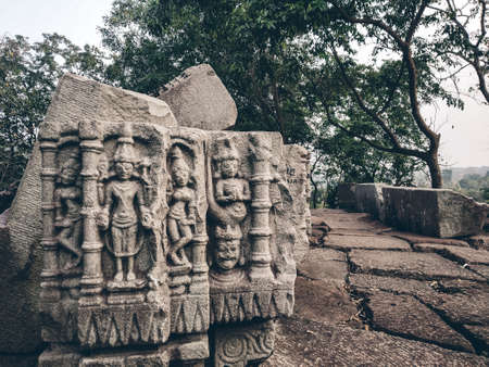 Beautiful interior of the Temple of Bamuni hill of Tezpur, India. vintage temples or indian temple stone. Old indian temple or old Assam temple.