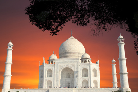 Front View of Taj Mahal in reddish sky with tree Stock Photo