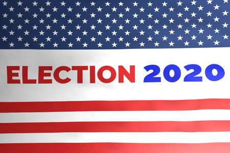 USA Presidential election 2020 concept illustration on american flag design.