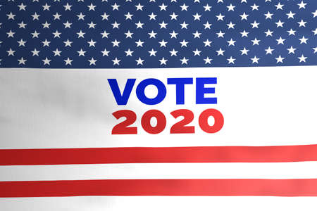 Vote 2020 on american flag illustration, USA Presidential election 2020 concept during covid-19 pandemic.