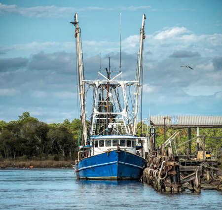 la: Shrimp boat at Bayou La Batre Alabama Stock Photo