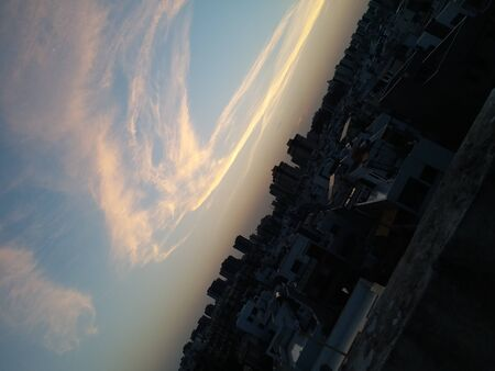 Beautiful Sunlight On Sky. Sky Clouds with Sun Beautiful Combination Nature Image.