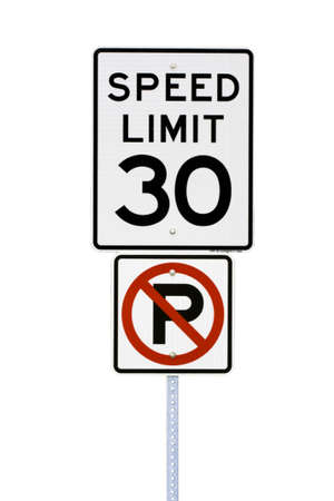 White 30 mph speed limit sign cut out
