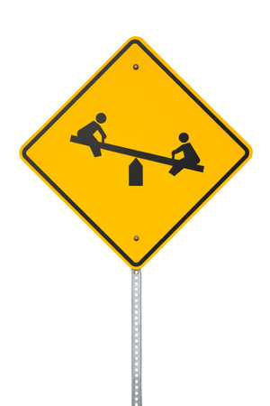 totter: Yellow Children playing sign cut out