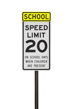 ホワイト 20 mph の学校ゾーン速度制限標識