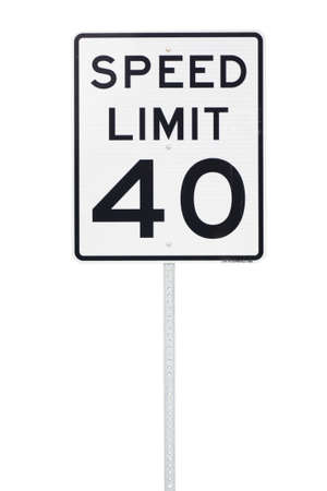 40 mph speed limit sign cut out photo