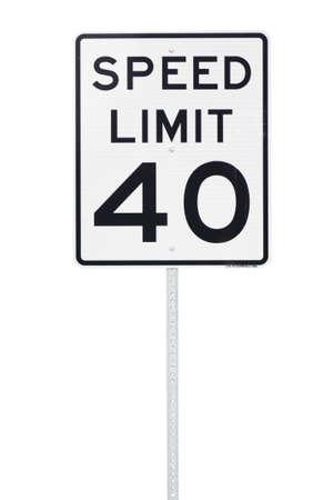 mph: 40 mph speed limit sign cut out