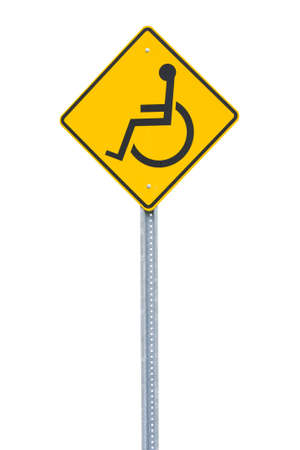 Yellow handicapped sign cut out photo
