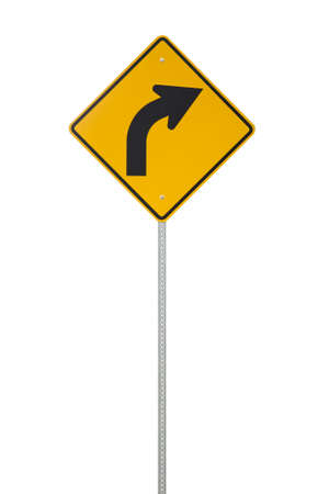Yellow right turn ahead sign cut out