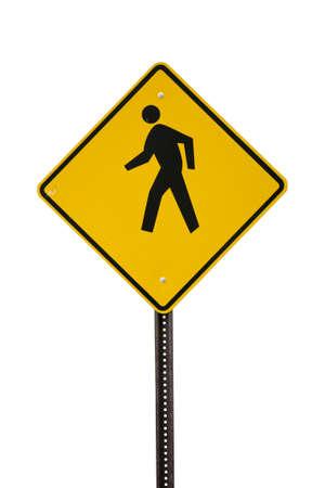 Yellow Man Walking sign cut out photo