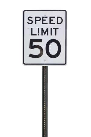 毎時 50 マイルの速度制限標識をカット