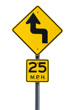 curve road: Yellow curvey road sign cut out Stock Photo