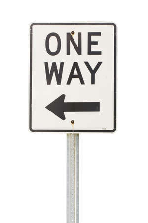 way out: White one way sign to the left