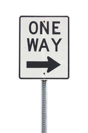 one to one: White one way sign to the right