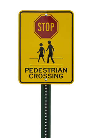 Yellow Pedestrian Crossing sign cut out