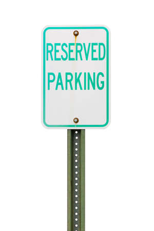 reserved: White reserved parking sign cut out