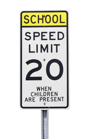 White 20 mph school zone speed limit sign Stock Photo - 7313310