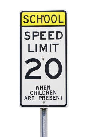 mph: White 20 mph school zone speed limit sign