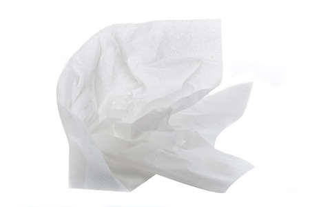 white textured paper: A crumpled up tissue