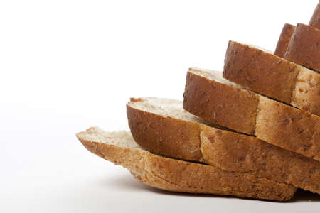 Slices of wheat bread against a white background Stok Fotoğraf