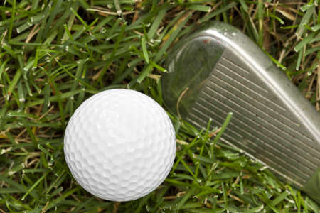 A white golf ball and golfclub sitting in green grass photo