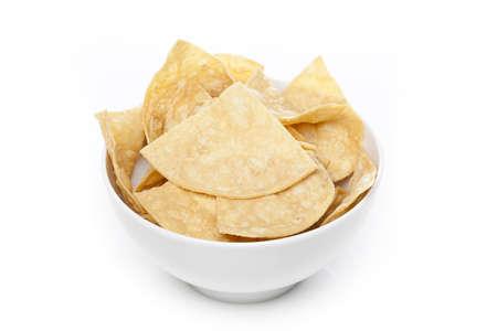 corn tortilla: Fresh corn tortilla chips against a white background