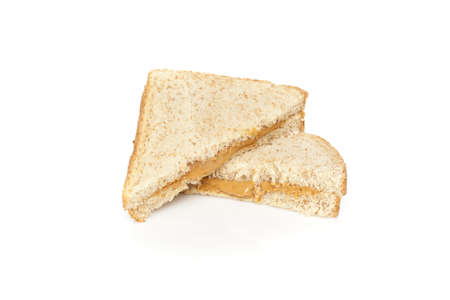 pb: A peanut butter sandwhich against a white background Stock Photo