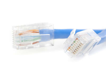 A blue ethernet cable against a white background