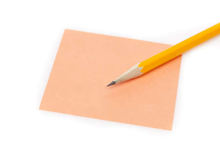 A colorful note pad with a pencil against a white background Stock Photo - 9864773